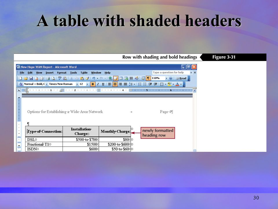 30 A table with shaded headers