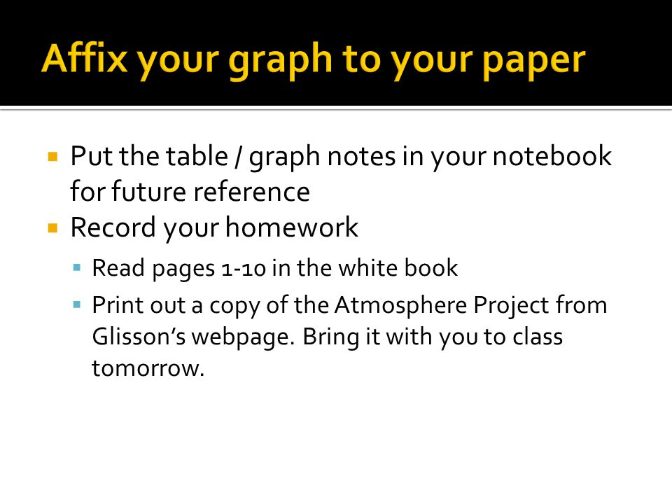 Put the table / graph notes in your notebook for future reference  Record your homework  Read pages 1-10 in the white book  Print out a copy of the Atmosphere Project from Glisson's webpage.