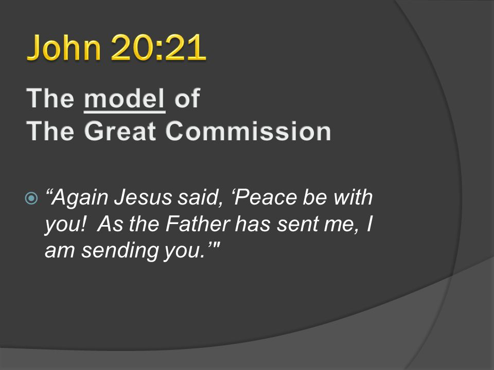  Again Jesus said, 'Peace be with you! As the Father has sent me, I am sending you.'