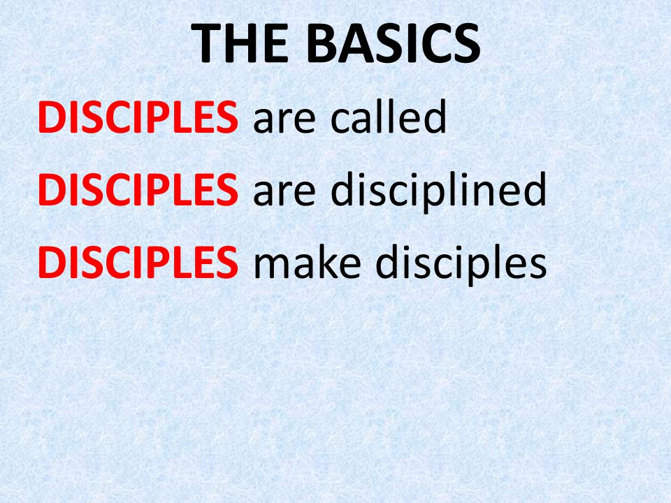 THE BASICS DISCIPLES are called DISCIPLES are disciplined DISCIPLES make disciples