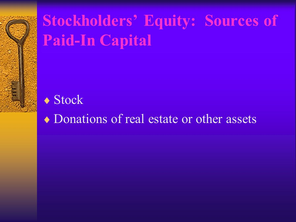 Stockholders' Equity: Sources of Paid-In Capital  Stock  Donations of real estate or other assets