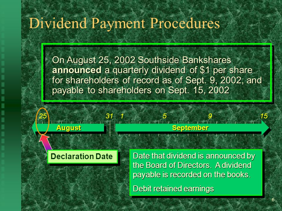 6 Date that dividend is announced by the Board of Directors.