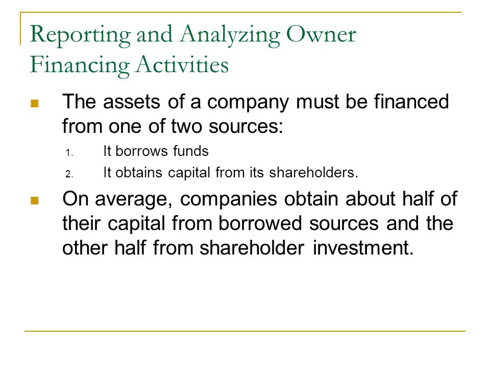The assets of a company must be financed from one of two sources: 1.