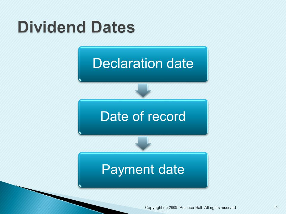 Declaration date Date of recordPayment date 24Copyright (c) 2009 Prentice Hall. All rights reserved