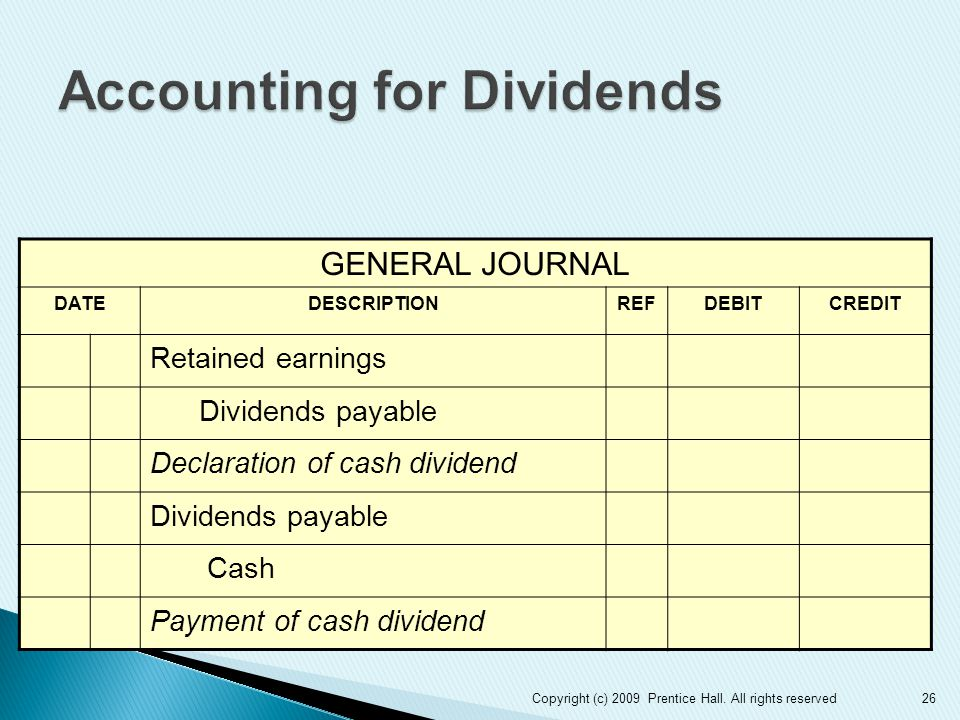 26 GENERAL JOURNAL DATEDESCRIPTIONREFDEBITCREDIT Retained earnings Dividends payable Declaration of cash dividend Dividends payable Cash Payment of cash dividend Copyright (c) 2009 Prentice Hall.