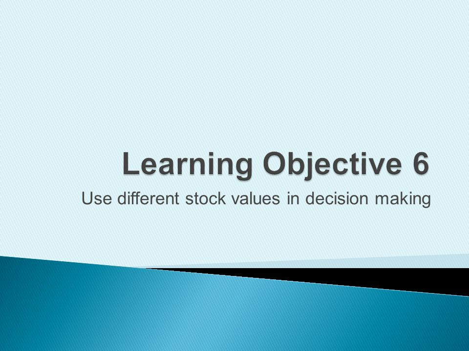 Use different stock values in decision making