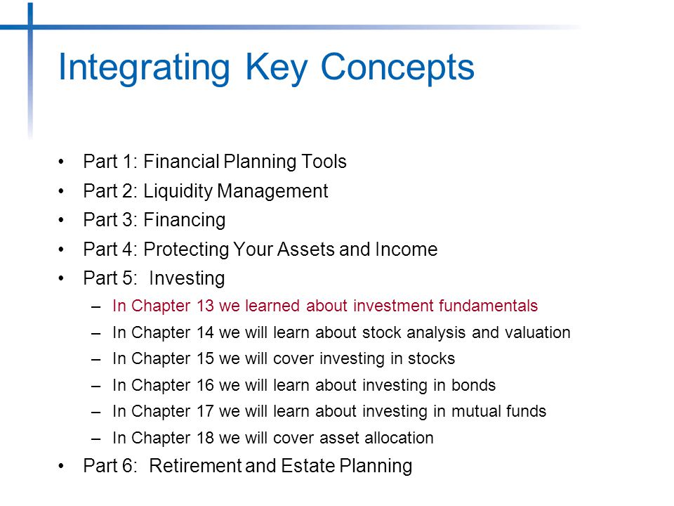 Part 1: Financial Planning Tools Part 2: Liquidity Management Part 3: Financing Part 4: Protecting Your Assets and Income Part 5: Investing –In Chapter 13 we learned about investment fundamentals –In Chapter 14 we will learn about stock analysis and valuation –In Chapter 15 we will cover investing in stocks –In Chapter 16 we will learn about investing in bonds –In Chapter 17 we will learn about investing in mutual funds –In Chapter 18 we will cover asset allocation Part 6: Retirement and Estate Planning