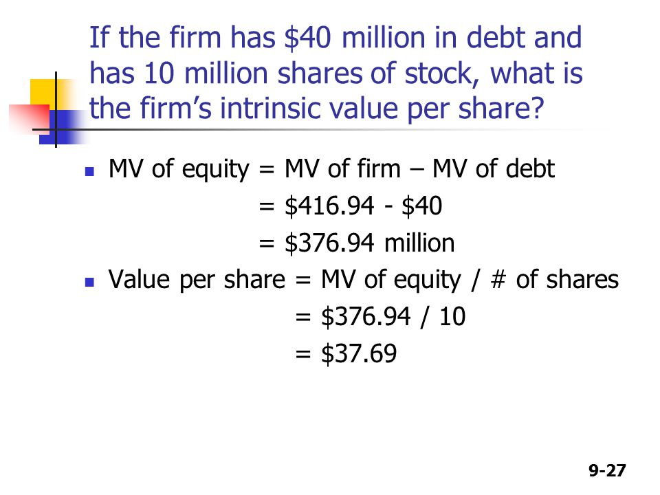 9-27 If the firm has $40 million in debt and has 10 million shares of stock, what is the firm's intrinsic value per share.