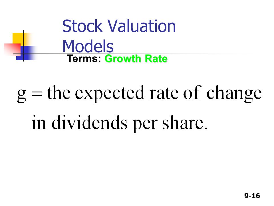 9-16 Growth Rate Terms: Growth Rate Stock Valuation Models
