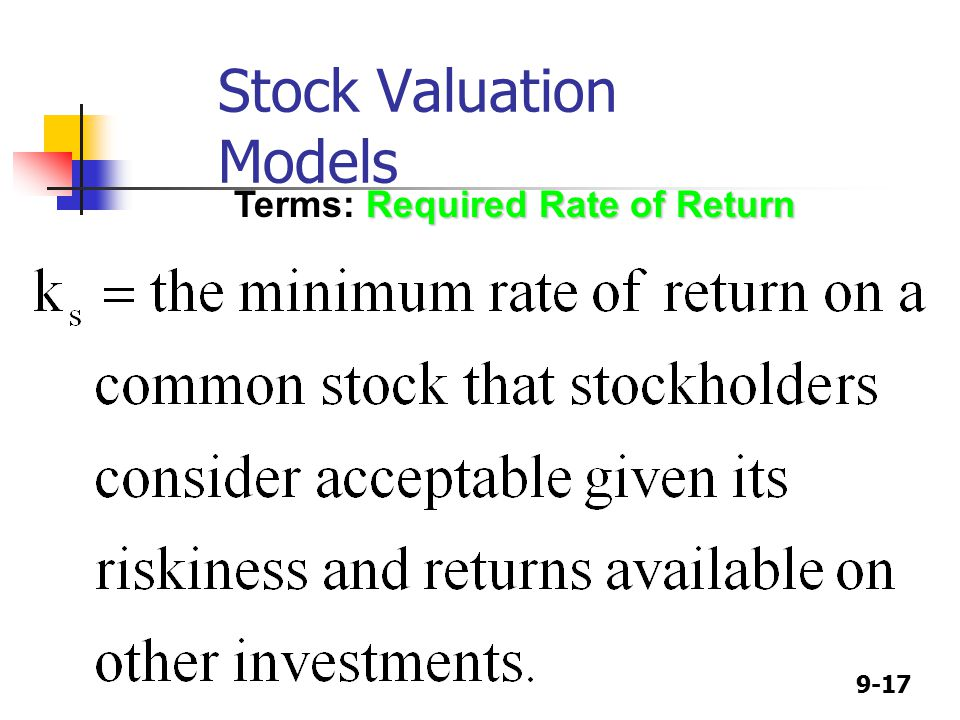 9-17 Required Rate of Return Terms: Required Rate of Return Stock Valuation Models