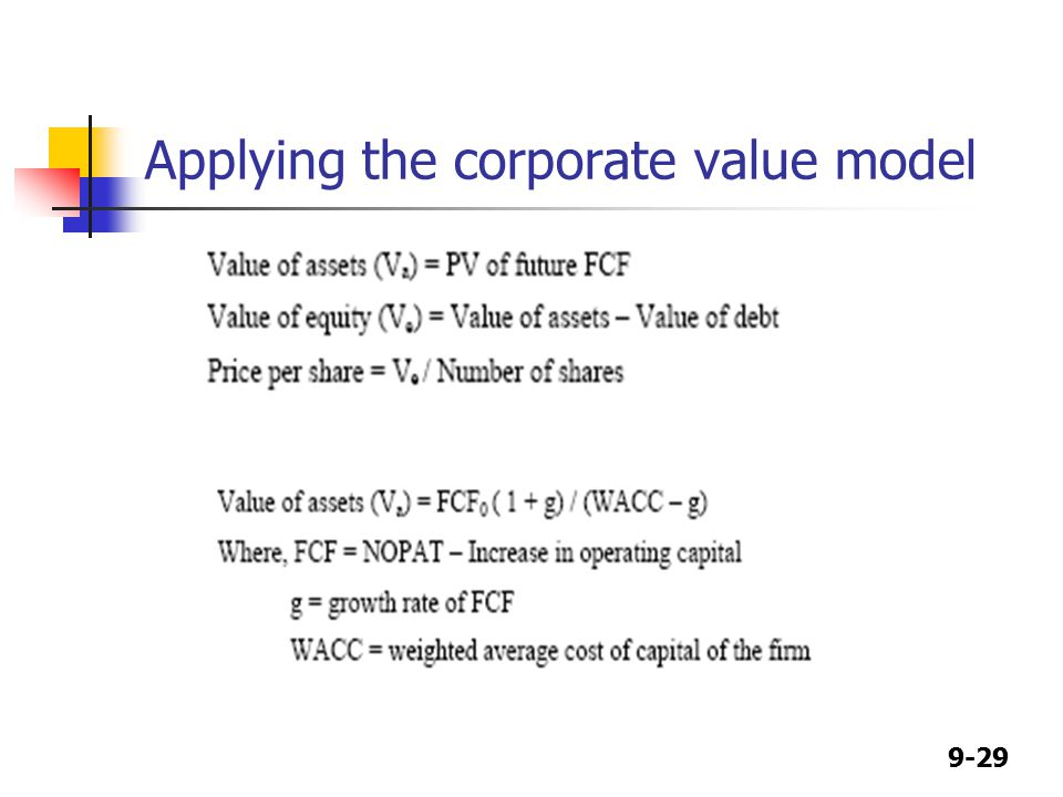 9-29 Applying the corporate value model