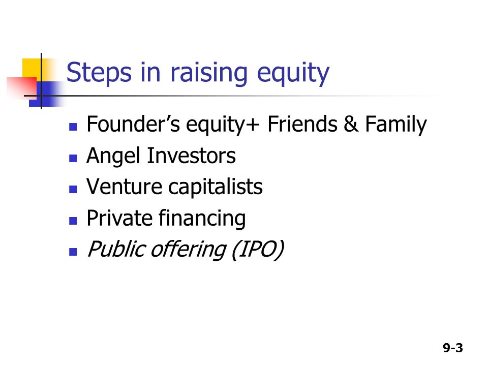 9-3 Steps in raising equity Founder's equity+ Friends & Family Angel Investors Venture capitalists Private financing Public offering (IPO)