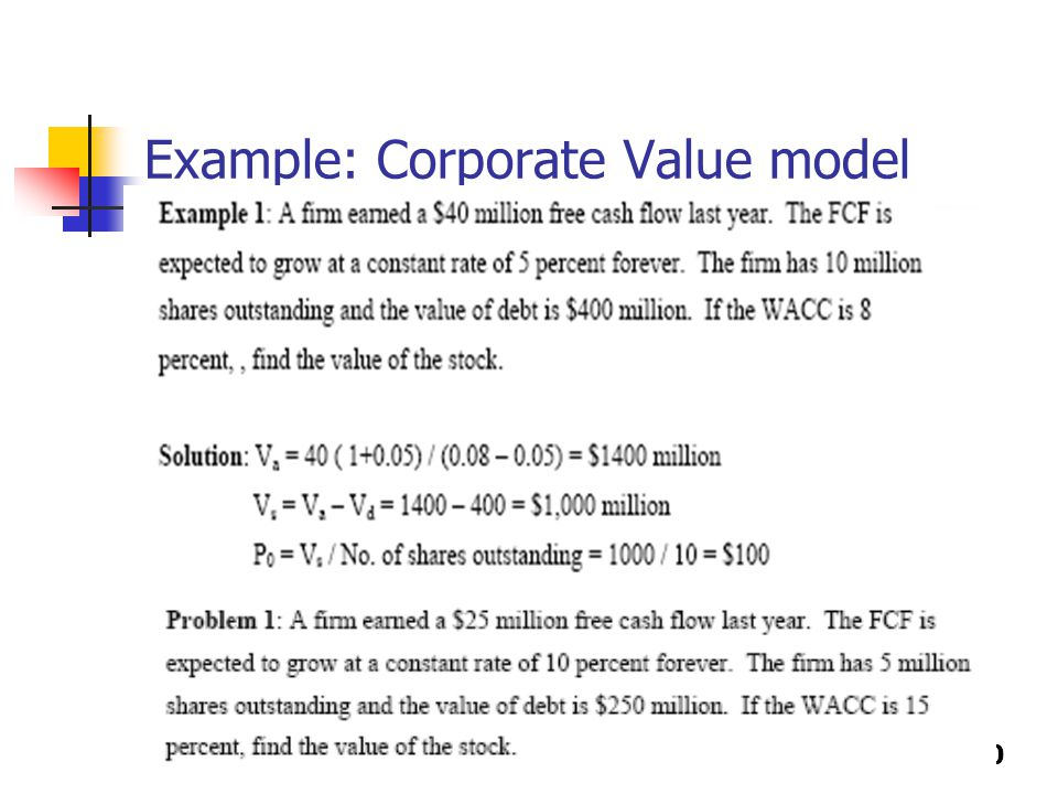 9-30 Example: Corporate Value model
