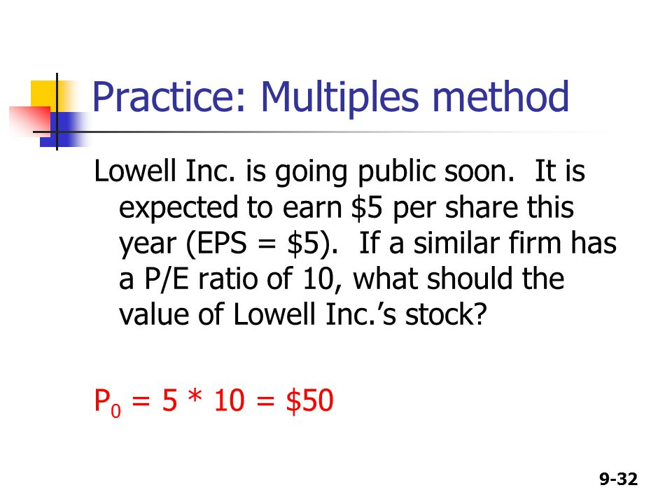 9-32 Practice: Multiples method Lowell Inc. is going public soon.
