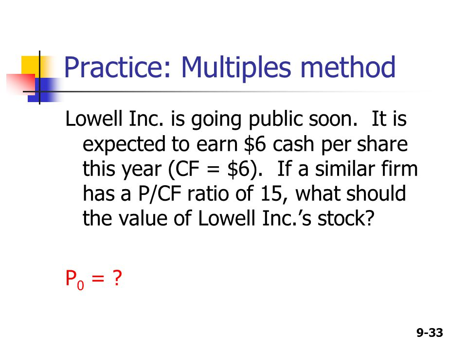 9-33 Practice: Multiples method Lowell Inc. is going public soon.