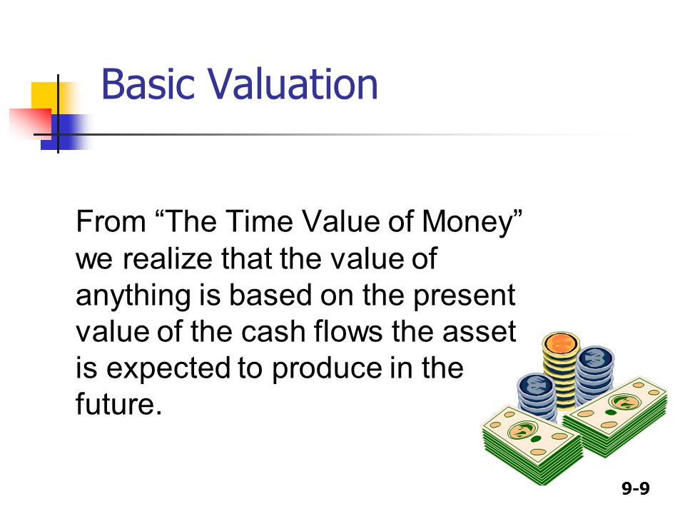 9-9 Basic Valuation From The Time Value of Money we realize that the value of anything is based on the present value of the cash flows the asset is expected to produce in the future.
