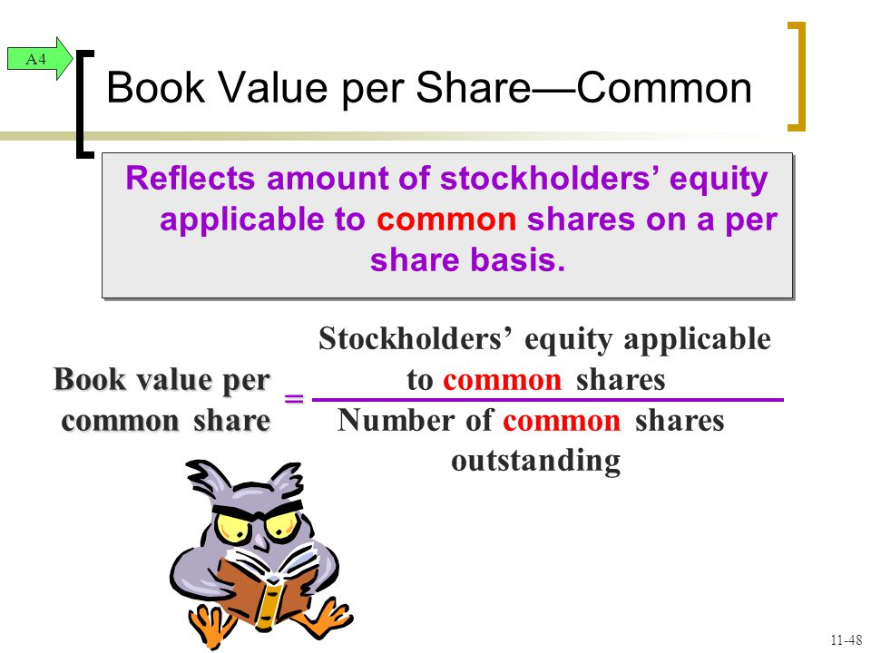 Reflects amount of stockholders' equity applicable to common shares on a per share basis.