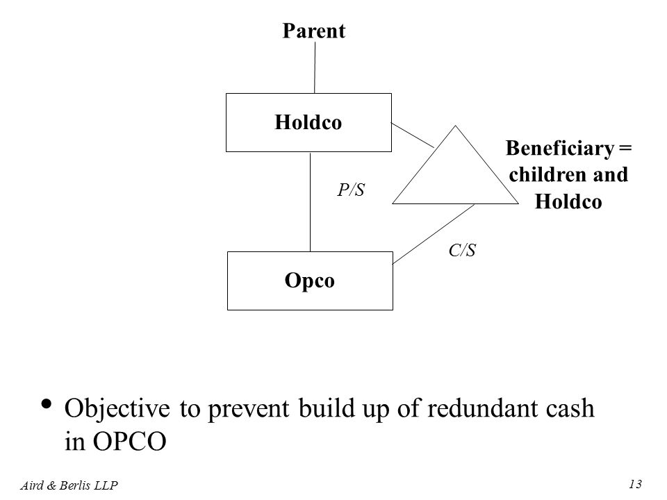 Aird & Berlis LLP 13 Holdco Parent P/S Opco Beneficiary = children and Holdco Objective to prevent build up of redundant cash in OPCO C/S