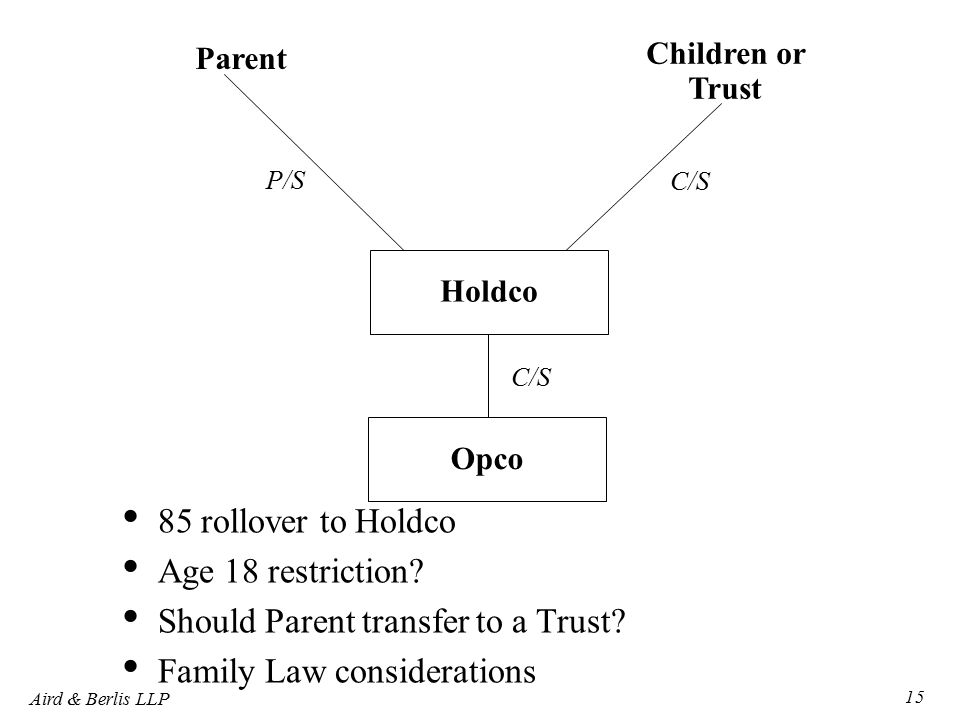 Aird & Berlis LLP 15 Parent Children or Trust Holdco C/S P/S Opco C/S 85 rollover to Holdco Age 18 restriction.