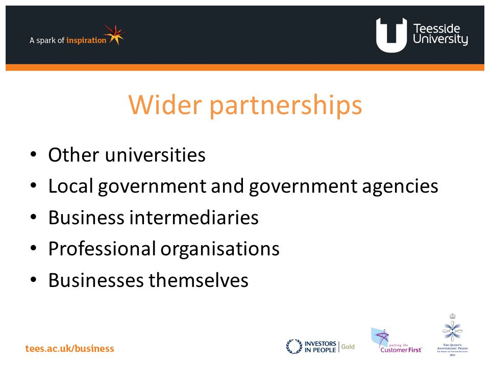 Wider partnerships Other universities Local government and government agencies Business intermediaries Professional organisations Businesses themselves