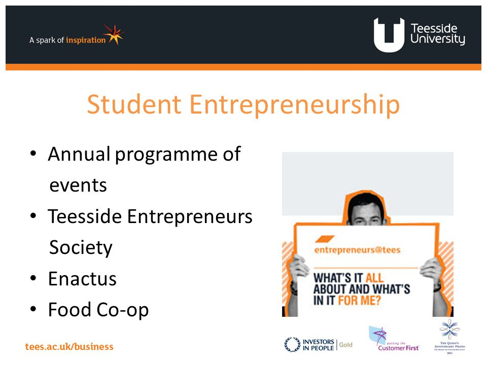 Student Entrepreneurship Annual programme of events Teesside Entrepreneurs Society Enactus Food Co-op