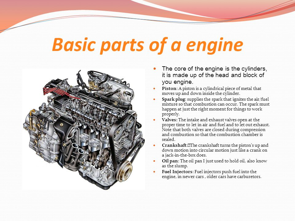 Basic parts of a engine The core of the engine is the cylinders, it is made up of the head and block of you engine.