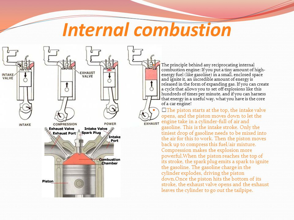 Internal combustion The ­principle behind any reciprocating internal combustion engine: If you put a tiny amount of high- energy fuel (like gasoline) in a small, enclosed space and ignite it, an incredible amount of energy is released in the form of expanding gas.