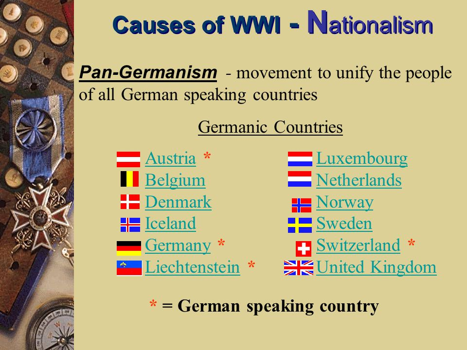 Causes of WWI - N ationalism Pan-Germanism - movement to unify the people of all German speaking countries AustriaAustria * Belgium Denmark Iceland GermanyGermany * LiechtensteinLiechtenstein * Luxembourg Netherlands Norway Sweden SwitzerlandSwitzerland * United Kingdom * = German speaking country Germanic Countries