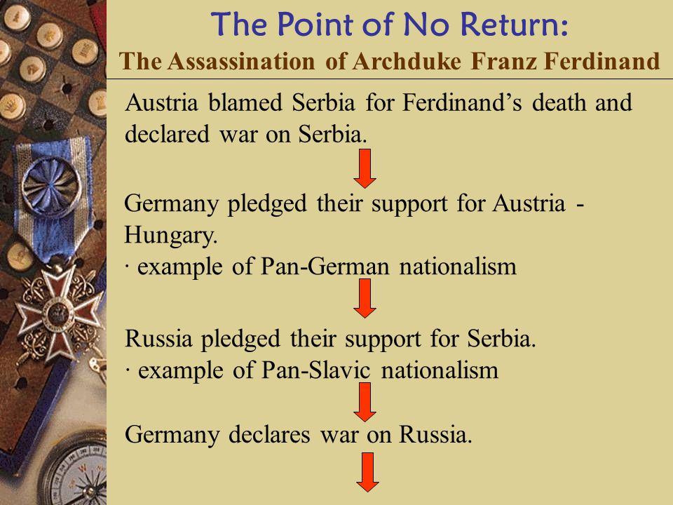 The Point of No Return: The Assassination of Archduke Franz Ferdinand Austria blamed Serbia for Ferdinand's death and declared war on Serbia.