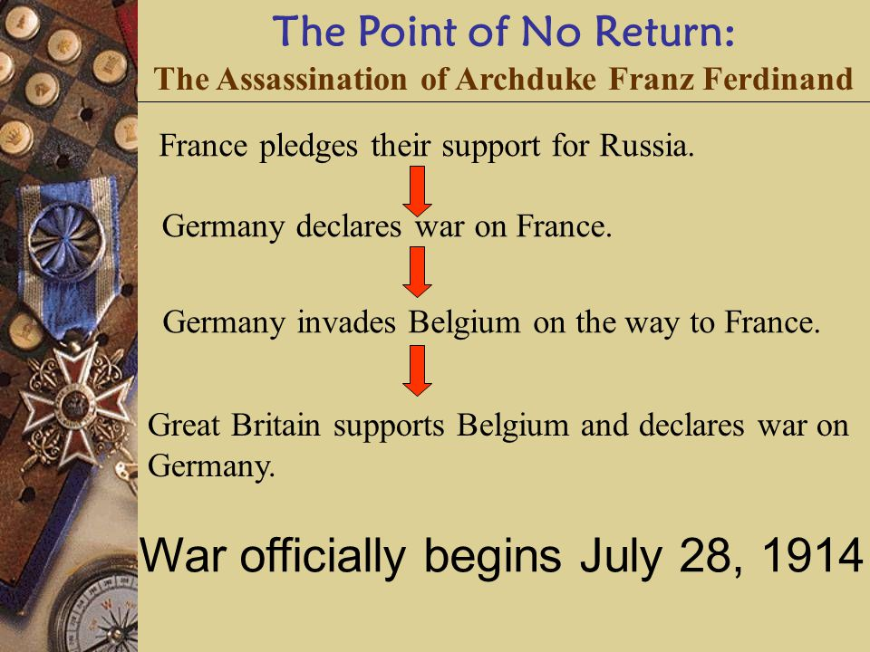 The Point of No Return: The Assassination of Archduke Franz Ferdinand France pledges their support for Russia.