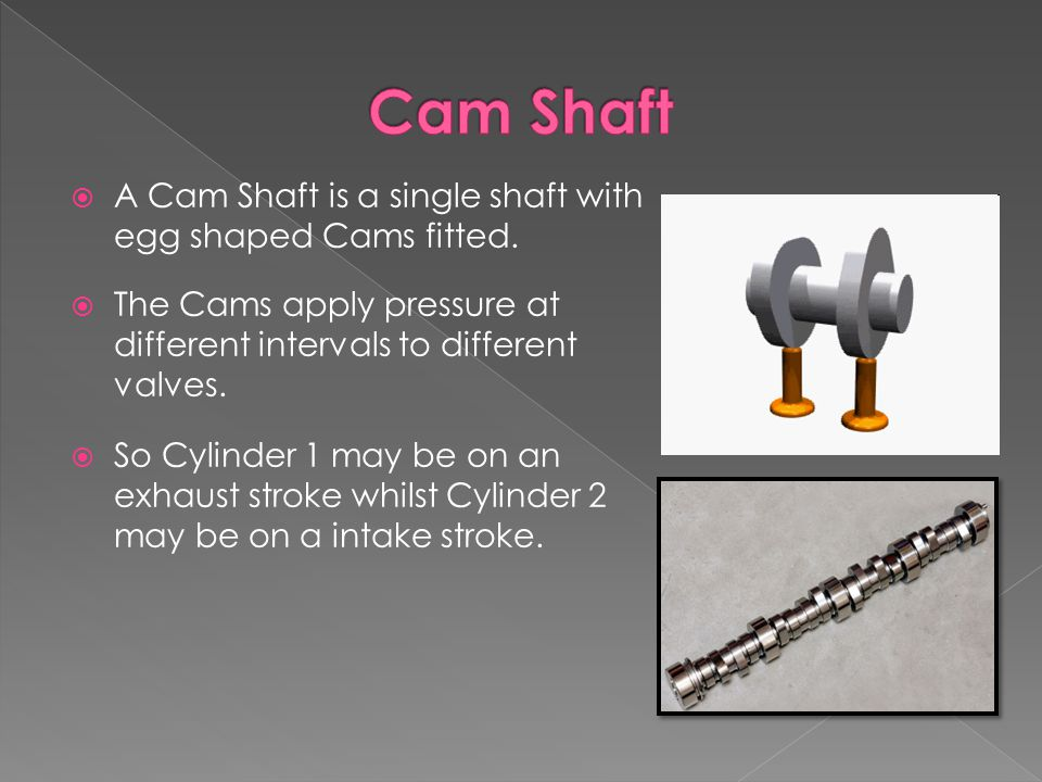  A Cam Shaft is a single shaft with egg shaped Cams fitted.