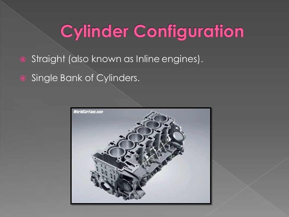  Straight (also known as Inline engines).  Single Bank of Cylinders.
