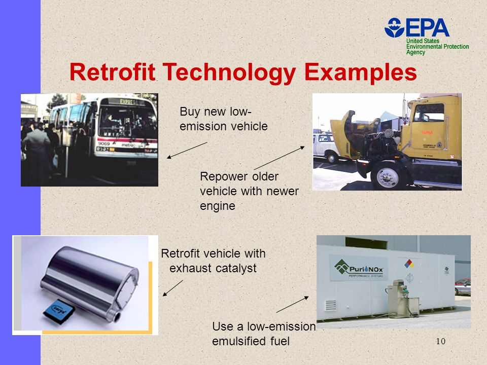 10 Buy new low- emission vehicle Repower older vehicle with newer engine Retrofit vehicle with exhaust catalyst Use a low-emission emulsified fuel Retrofit Technology Examples