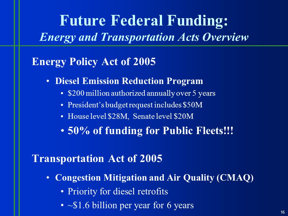 Future Federal Funding: Energy and Transportation Acts Overview Energy Policy Act of 2005 Diesel Emission Reduction Program $200 million authorized annually over 5 years President's budget request includes $50M House level $28M, Senate level $20M 50% of funding for Public Fleets!!.
