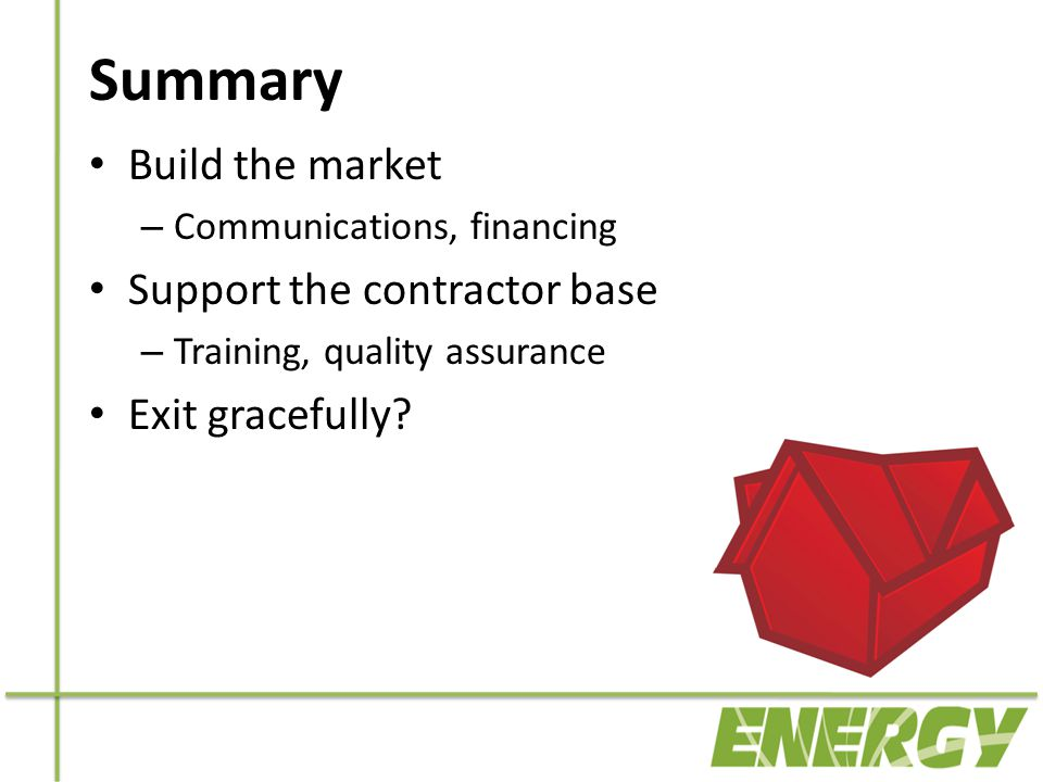 Summary Build the market – Communications, financing Support the contractor base – Training, quality assurance Exit gracefully