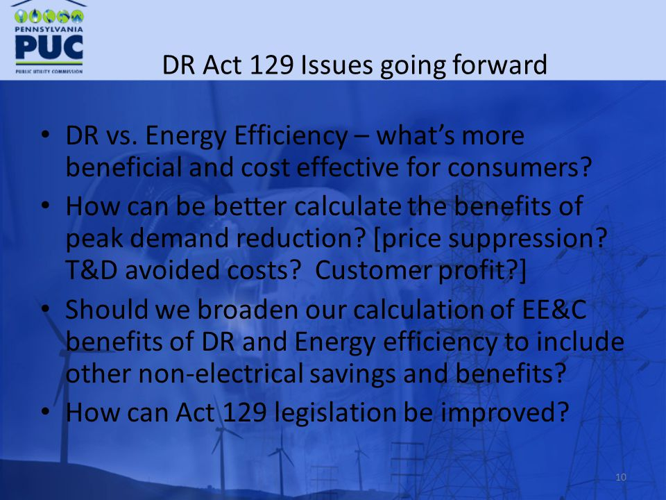 DR Act 129 Issues going forward DR vs.