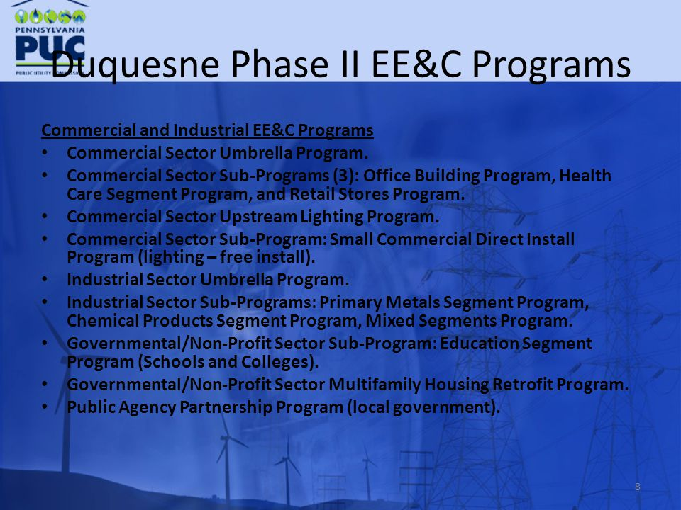 Duquesne Phase II EE&C Programs Commercial and Industrial EE&C Programs Commercial Sector Umbrella Program.