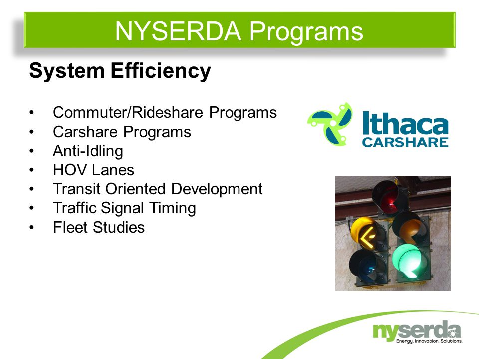 System Efficiency Commuter/Rideshare Programs Carshare Programs Anti-Idling HOV Lanes Transit Oriented Development Traffic Signal Timing Fleet Studies NYSERDA Programs