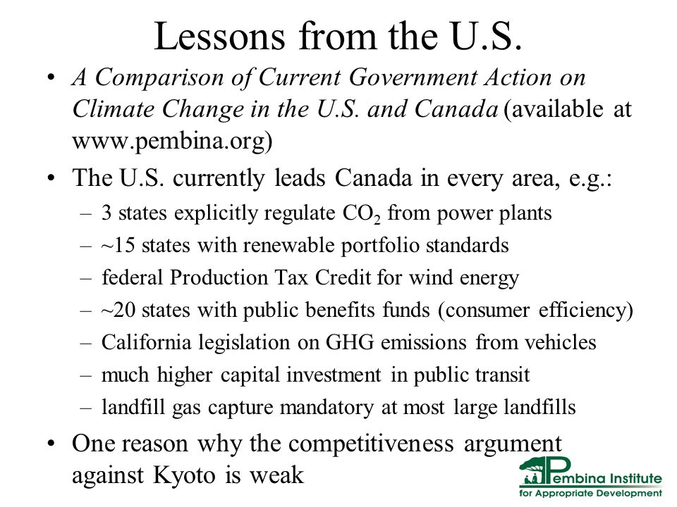 Lessons from the U.S. A Comparison of Current Government Action on Climate Change in the U.S.