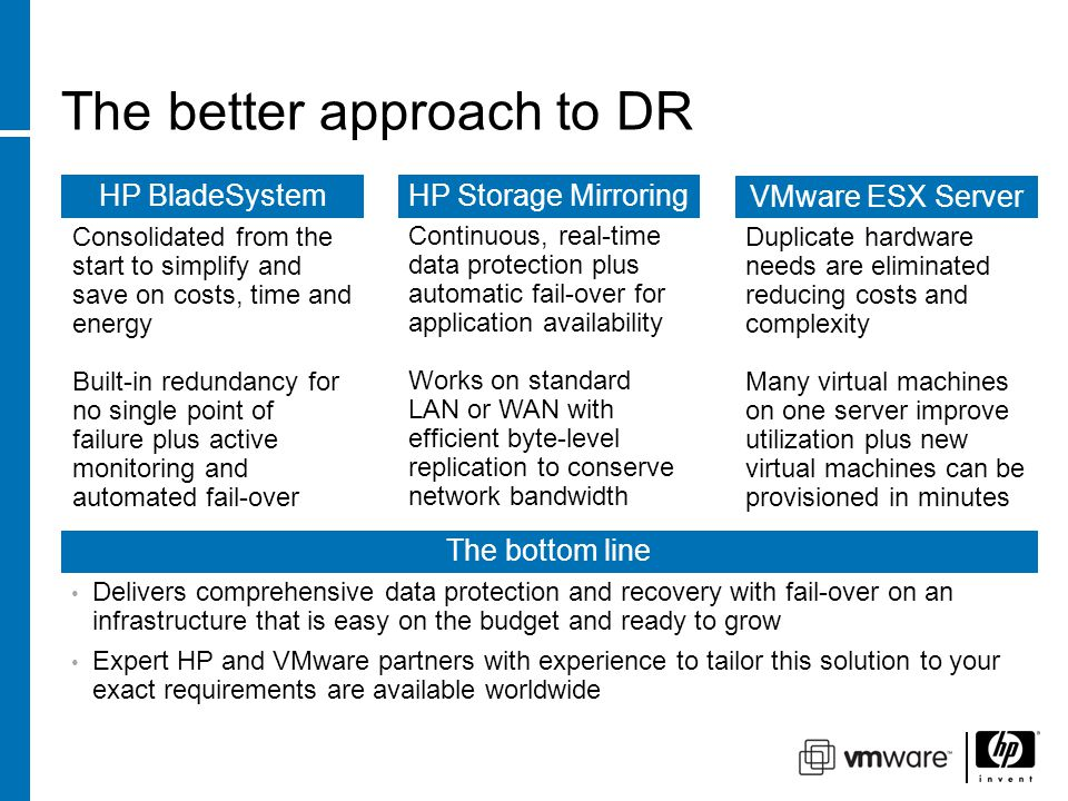 The better approach to DR HP Storage Mirroring Continuous, real-time data protection plus automatic fail-over for application availability Works on standard LAN or WAN with efficient byte-level replication to conserve network bandwidth HP BladeSystem Consolidated from the start to simplify and save on costs, time and energy Built-in redundancy for no single point of failure plus active monitoring and automated fail-over VMware ESX Server Duplicate hardware needs are eliminated reducing costs and complexity Many virtual machines on one server improve utilization plus new virtual machines can be provisioned in minutes The bottom line Delivers comprehensive data protection and recovery with fail-over on an infrastructure that is easy on the budget and ready to grow Expert HP and VMware partners with experience to tailor this solution to your exact requirements are available worldwide