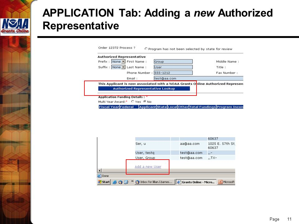 Page 11 APPLICATION Tab: Adding a new Authorized Representative