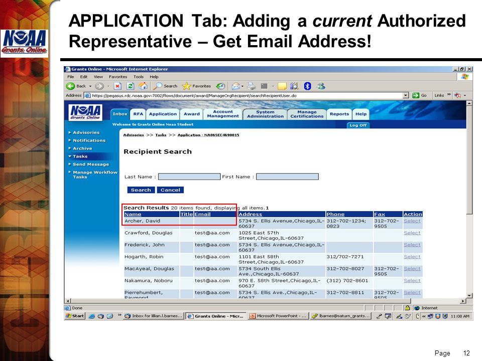 Page 12 APPLICATION Tab: Adding a current Authorized Representative – Get  Address!