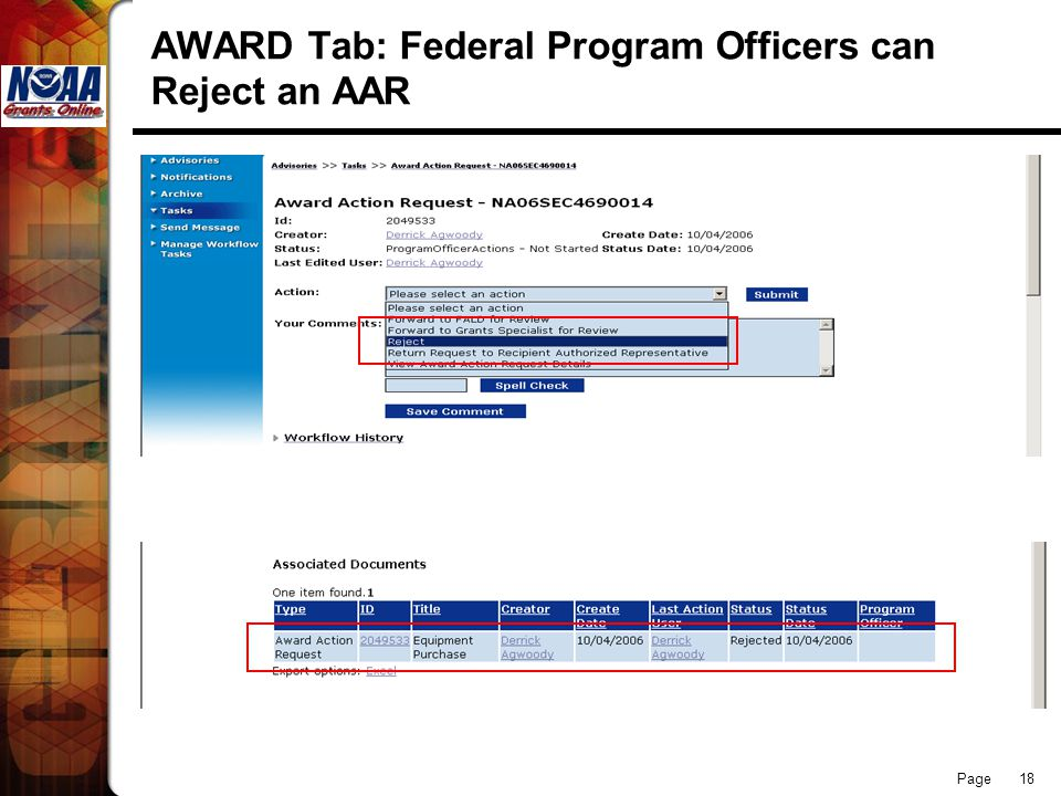 Page 18 AWARD Tab: Federal Program Officers can Reject an AAR