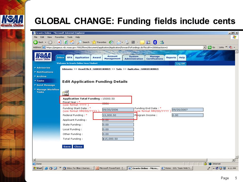 Page 5 GLOBAL CHANGE: Funding fields include cents