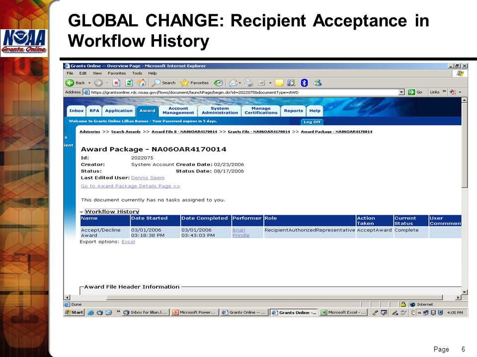 Page 6 GLOBAL CHANGE: Recipient Acceptance in Workflow History