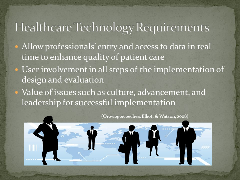 Allow professionals' entry and access to data in real time to enhance quality of patient care User involvement in all steps of the implementation of design and evaluation Value of issues such as culture, advancement, and leadership for successful implementation (Oroviogoicoechea, Elliot, & Watson, 2008)