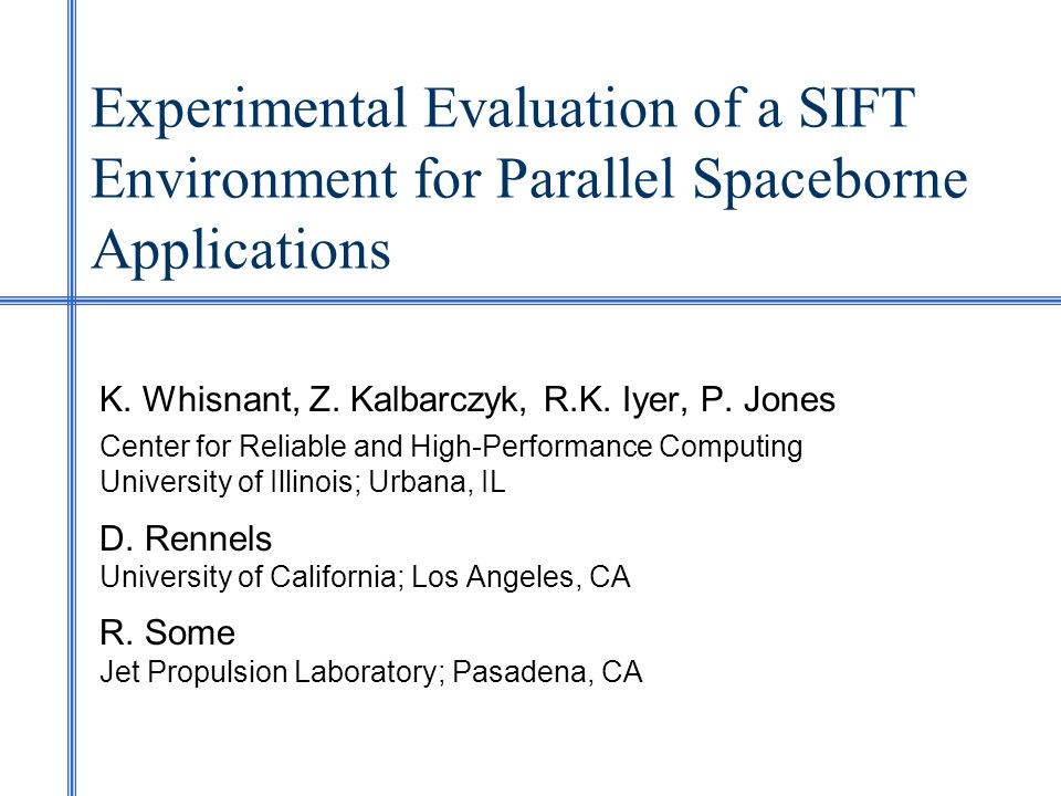 1 Experimental Evaluation Of A SIFT