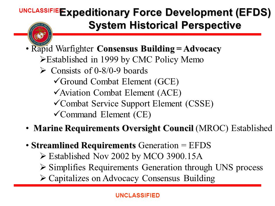 UNCLASSIFIED Consensus Building = Advocacy Rapid Warfighter Consensus Building = Advocacy  Established in 1999 by CMC Policy Memo  Consists of 0-8/0-9 boards Ground Combat Element (GCE) Aviation Combat Element (ACE) Combat Service Support Element (CSSE) Command Element (CE) Marine Requirements Oversight Council Marine Requirements Oversight Council (MROC) Established 2000 Streamlined Requirements Streamlined Requirements Generation = EFDS  Established Nov 2002 by MCO 3900.15A  Simplifies Requirements Generation through UNS process  Capitalizes on Advocacy Consensus Building Expeditionary Force Development (EFDS) System Historical Perspective