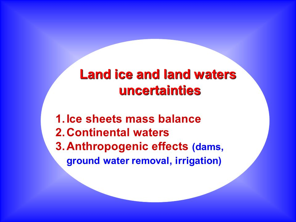 Land ice and land waters uncertainties uncertainties 1.Ice sheets mass balance 2.Continental waters 3.Anthropogenic effects (dams, ground water removal, irrigation)