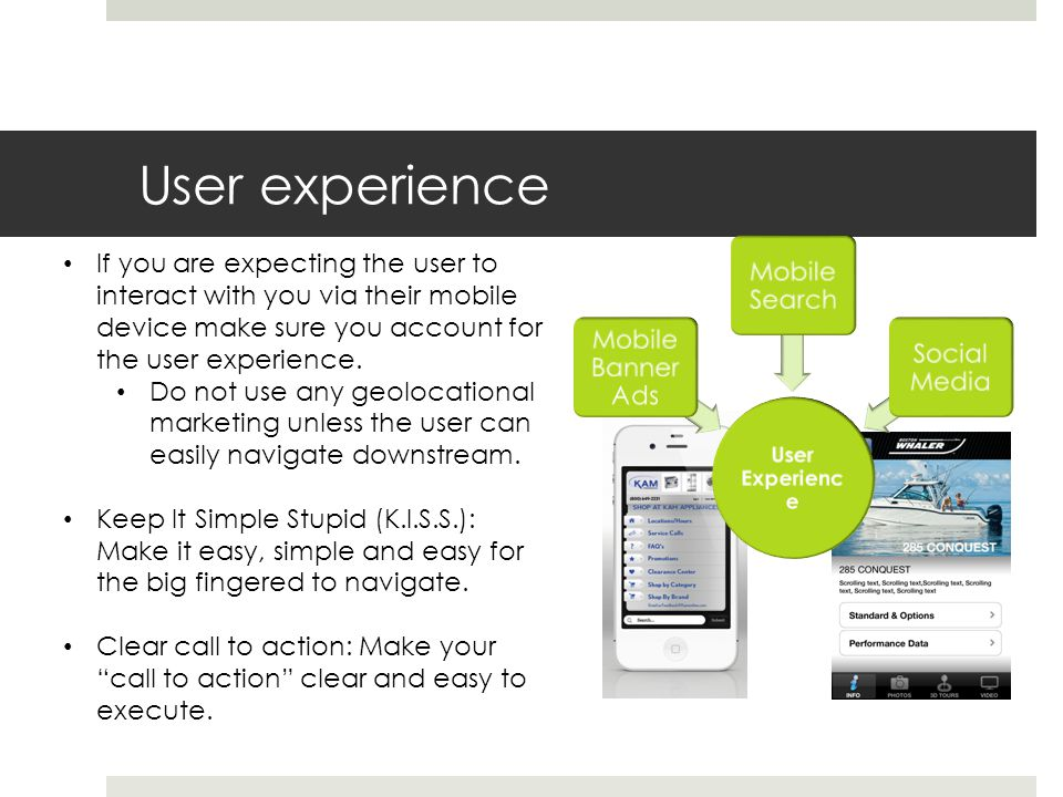 User experience If you are expecting the user to interact with you via their mobile device make sure you account for the user experience.